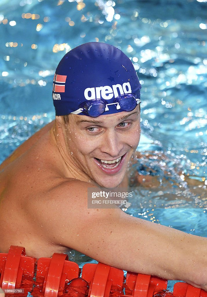 Norvegian Aleksander Hetland reacts after finishing second in the men's 50m breastststroke final at the European Swimming Championships on November 24, 2012, in Chartres.