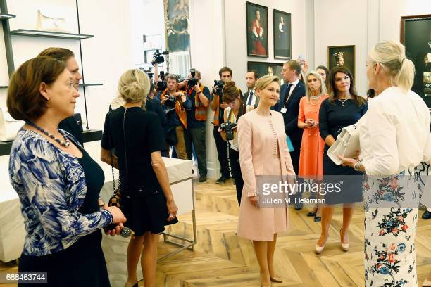 Norvegian Ambassador in Brussels Mrs Ingrid Schulerud French First Lady Mrs Brigitte Macron Mrs Mojca Stropnik Mrs Thora Margrethe Baldvinsdottir and...