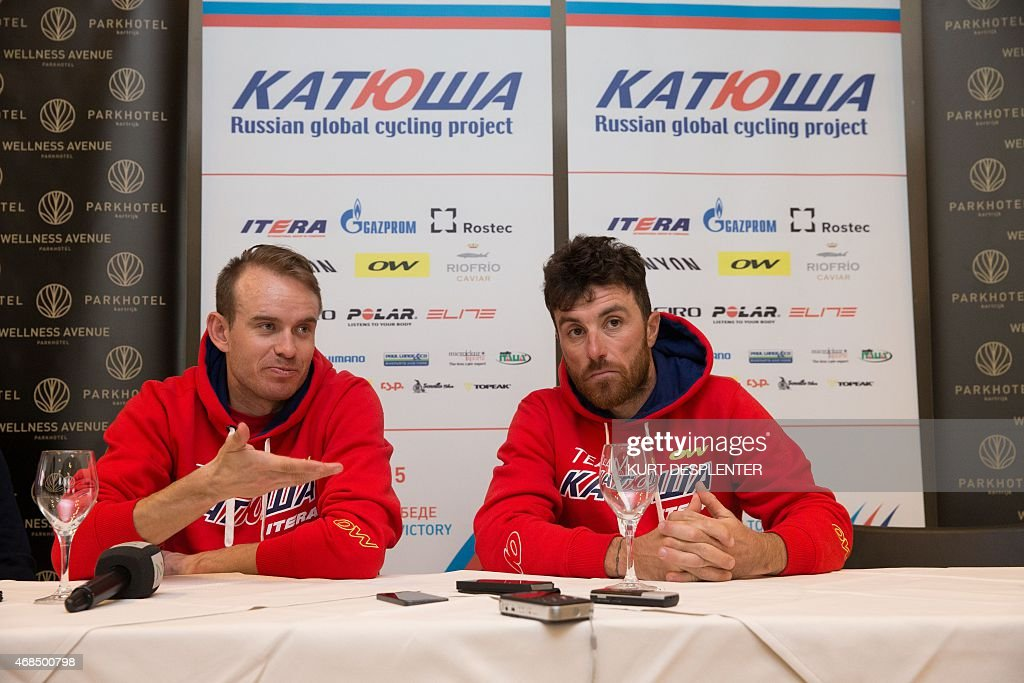 Norvegian cyclist <a gi-track='captionPersonalityLinkClicked' href=/galleries/search?phrase=Alexander+Kristoff&family=editorial&specificpeople=6165249 ng-click='$event.stopPropagation()'>Alexander Kristoff</a> of Team Katusha and Italian cyclist <a gi-track='captionPersonalityLinkClicked' href=/galleries/search?phrase=Luca+Paolini&family=editorial&specificpeople=774515 ng-click='$event.stopPropagation()'>Luca Paolini</a> of Team Katusha hold a press conference of Katusha cycling team ahead of Sunday's Tour des Flandres (Tour of Flanders) cycling race, on April 3, 2015, in Kortrijk. AFP PHOTO / BELGA / KURT DESPLENTER