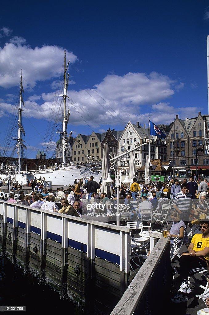 Norway, Bergen, Zachariasbryggen, Outdoor Restaurant.