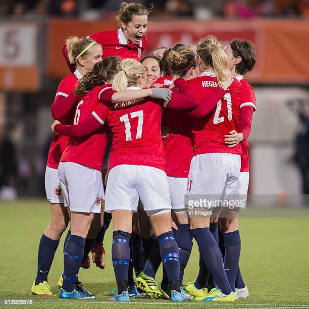 Norway celebrate a goal during the 2016 UEFA Women's Olympic Qualifying Tournament match between Norway and Netherlands on March 5 2016 at the Sparta...