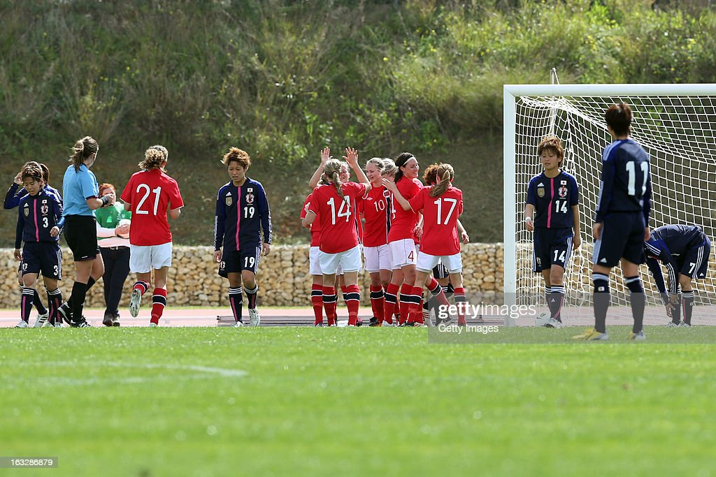 Norway celebrates second goal during the Algarve Cup match between Japan and Norway at the Complexo Desportivo Belavista on March 6, 2013 in Parchal, Portugal.