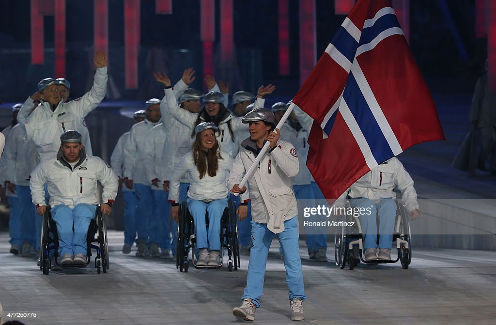Norway enter the arena lead by flag bearer Mariann Marthinsen during the Opening Ceremony of the Sochi 2014 Paralympic Winter Games at Fisht Olympic Stadium on March 7, 2014 in Sochi, Russia.