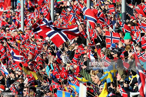 Norway fans cheer on the athletes in the Ladies Cross Country 30km Mass Start race during the FIS Nordic World Ski Championships at Holmenkollen on...