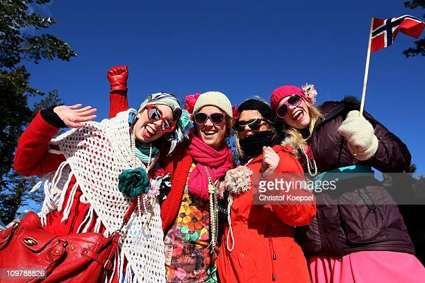 Norway fans cheer on their athletes in the Ladies Cross Country 30km Mass Start race during the FIS Nordic World Ski Championships at Holmenkollen on...