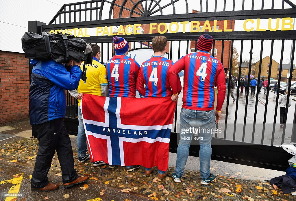 Norway fans supporting Brede Hangeland of Crystal Palace wait outside the ground prior to the Barclays Premier League match between Crystal Palace...