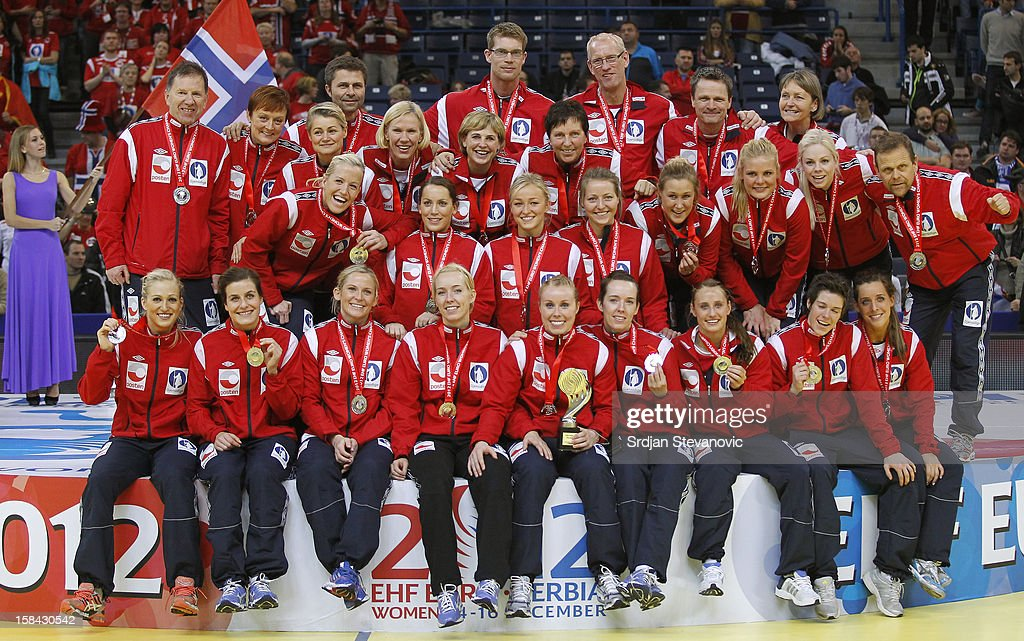 Norway handball team players posing on the podium after taking the second place during the Women's European Handball Championship 2012 medal ceremony at Arena Hall on December 16, 2012 in Belgrade, Serbia.