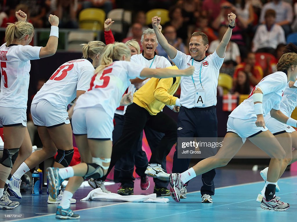 Norway head coach Thorir Hergeirsson celebrates his teams victory over Denmark during the Women's Handball Preliminaries Group A match between Norway and Denmark on Day 7 of the London 2012 Olympic Games at Copper Box on August 3, 2012 in London, England.