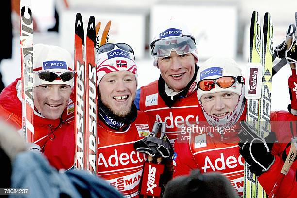 Jens Arne Svartedal Martin Sundby Tor Arne Hetland and Tore Ruud Hofstad after their victory in men's 4x10km crosscountry relay ski race at...