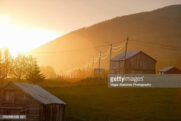 Norway, Lofoten, farm, midnight sun