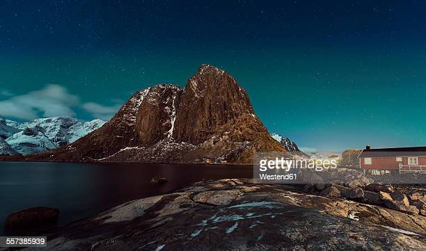Norway, Lofoten, Hamnoy, night at Reinefjorden