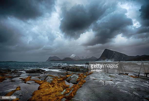 Norway, Lofoten Island, Sandnes, Sea coast with storm clouds