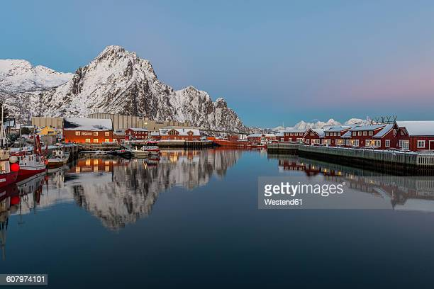 Norway, Lofoten Islands, Svolvaer, The harbor of the town at sunset