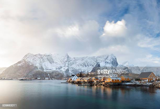 Norway, Lofoten, Sakrisoya, View of fishing village in mountains