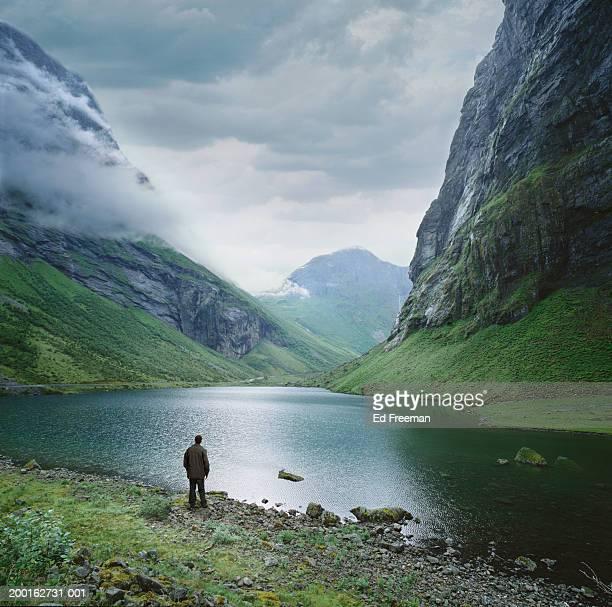 Norway, Norangsdalen Chasm, man looking at scenery, rear view