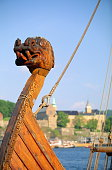 Norway, Oslo, bow of Viking ship, close-up
