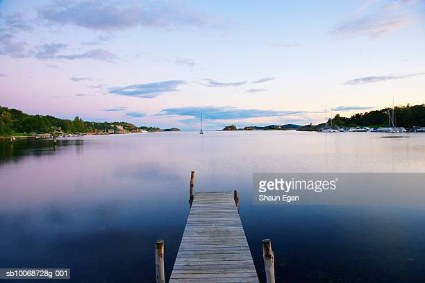 Norway, Oslo, Oslo Fjord, Pier on lake