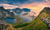 View from Reinebringen at Lofoten Islands, located in Norway, during summer sunrise. This is composite of 4 vertical images stitched together in photoshop.