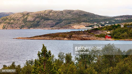 Norway, Red house on shore
