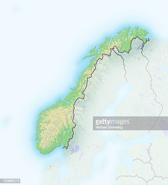 Norway, shaded relief map