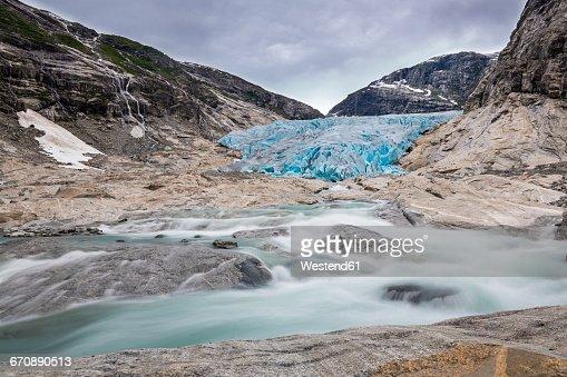Norway, Sogn og Fjordane, Jostedalsbreen National Park, Nigardsbreen, Glacier tongue