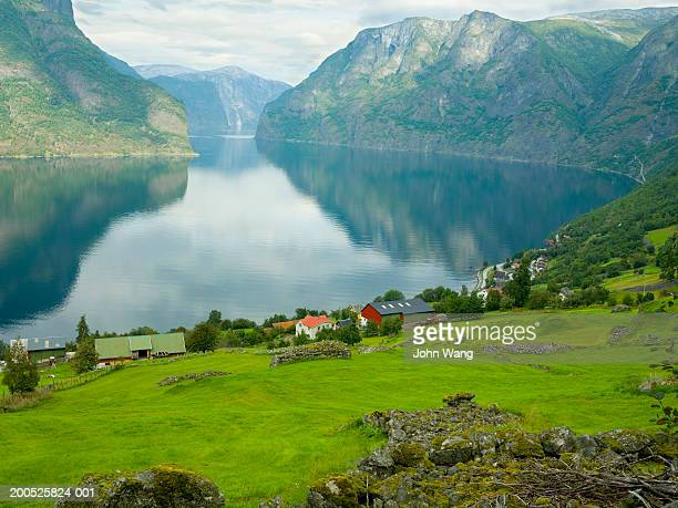 Norway, Sognefjord, Aurland, farms beside fjord, dawn, elevated view