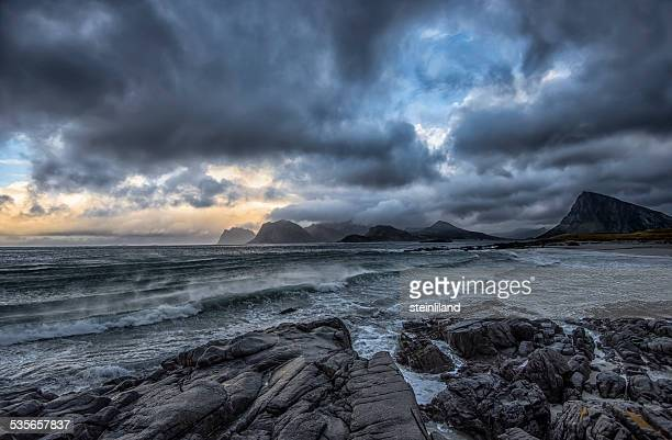 Norway, Storsandnes, Autumn seascape