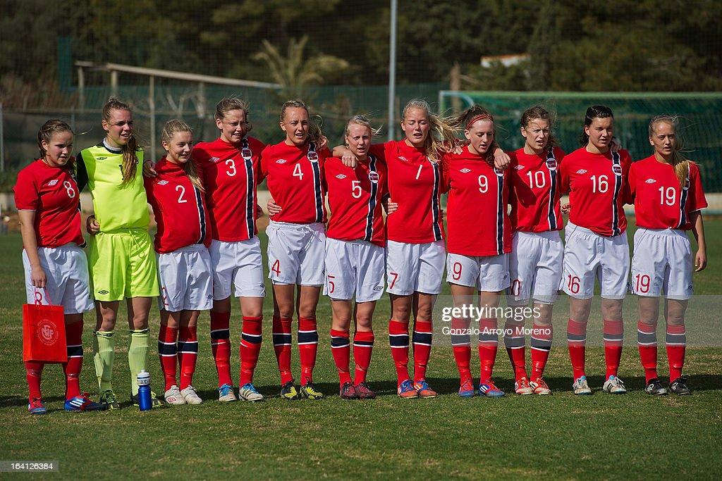 U19 Norway team listen the german anthem prior to start the Women's U19 Tournament match between U19 Norway and U19 Germany at La Manga Club ground G on March 11, 2013 in La Manga, Spain.