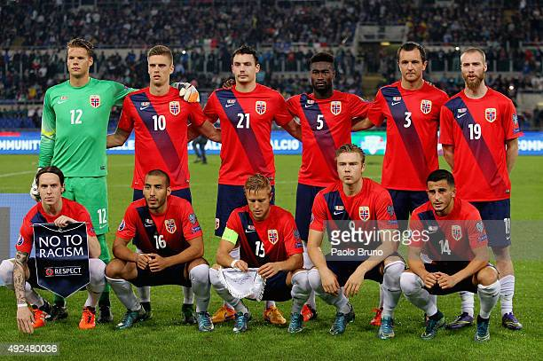 Norway team poses during the UEFA EURO 2016 Group H Qualifier match between Italy and Norway at Stadio Olimpico on October 13 2015 in Rome Italy
