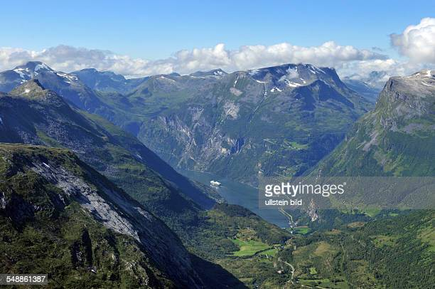Norway View from the mountain peak 'Dalsnibba' on the Geirangerfjord