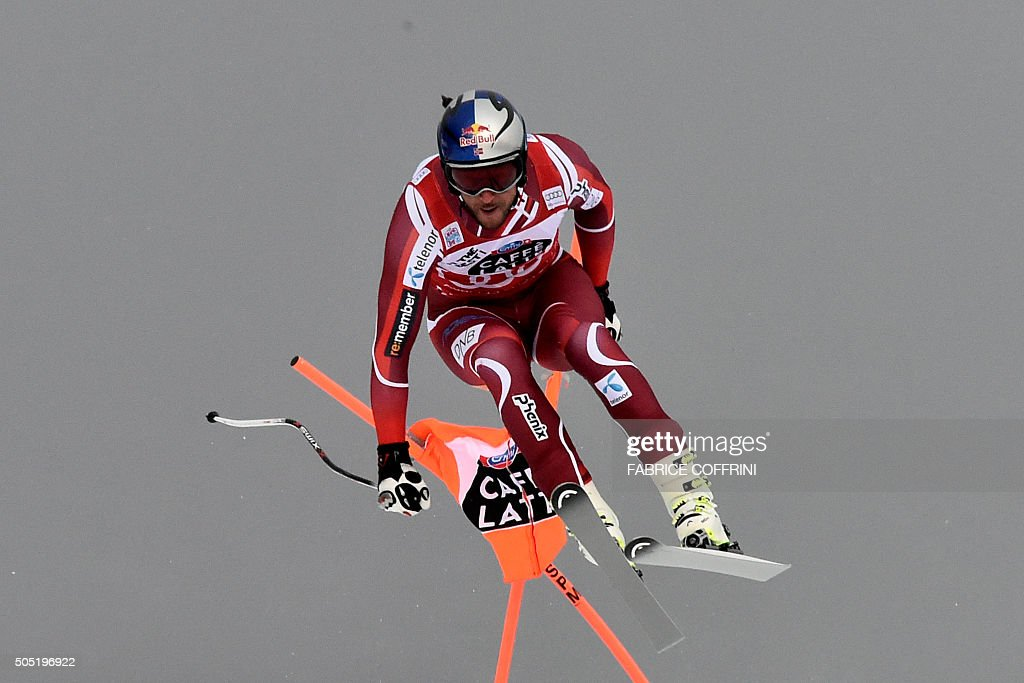 Norway's Aksel Lund Svindal competes in the Alpine skiing FIS World Cup mens downhill event on January 16 2016 in Wengen AFP PHOTO / FABRICE COFFRINI...