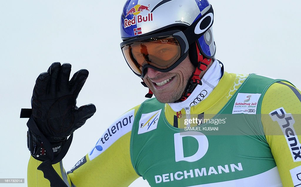 Norway's Aksel Lund Svindal reacts after the first run of the men's Giant slalom at the 2013 Ski World Championships in Schladming, Austria on February 15, 2013.