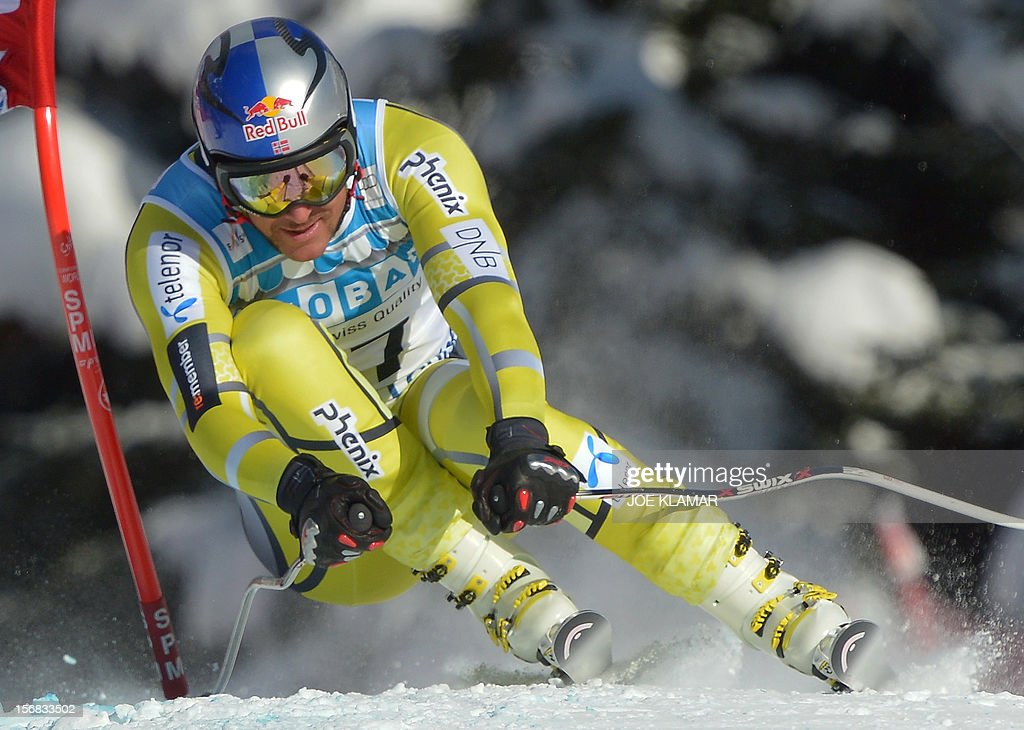 Norway's Aksel Lund Svindal skis during the downhill practice for the Alpine Skiing World Cup in Lake Louise, Canada on November 22, 2012.