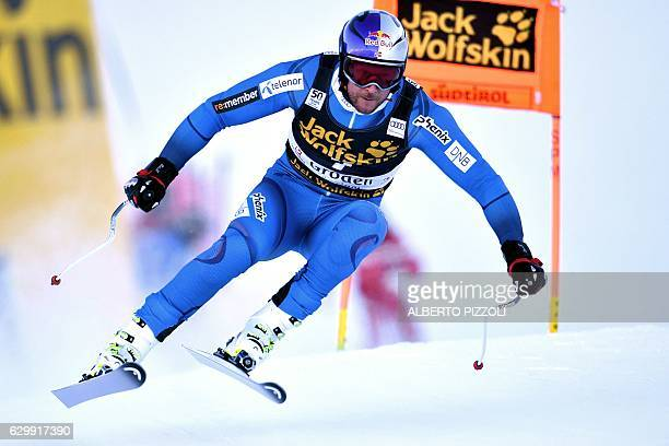 Norway's Aksel Lund Svindal takes part in the Men's Downhill training session of the FIS Alpine Skiing World Cup in Val Gardena in the Italian Alps...