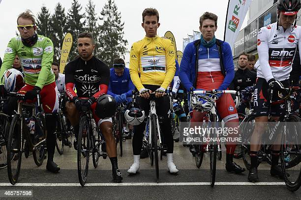 Norway's Alexander Kristoff wearing the best sprinter's green jersey France's Nacer Bouhanni wearing a black jersey in tribute to his friend late...