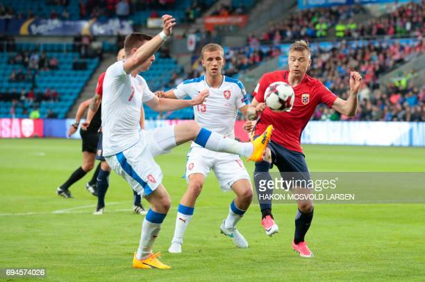 Norway`s Alexander Toft Soderlund Czech Republic`s Tomas Soucek and Jaromir Zmrhal vie for the ball during the FIFA World Cup 2018 qualification...