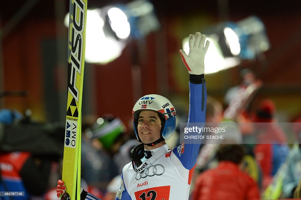 Norway's <a gi-track='captionPersonalityLinkClicked' href=/galleries/search?phrase=Anders+Bardal&family=editorial&specificpeople=2146620 ng-click='$event.stopPropagation()'>Anders Bardal</a> reacts after competing at the Men Large Hill Team competition of the 2015 FIS Nordic World Ski Championships in Falun, Sweden, on February 28, 2015.