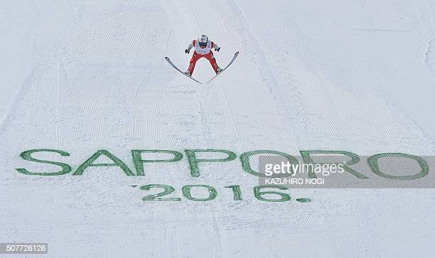 Norway's Anders Fannemel soars in the air during the final round of the men's skijumping World Cup competition in Sapporo Hokkaido prefecture on...