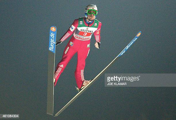 Norway's Anders Jacobsen competes during the first round of the Four Hills competition of the FIS Ski Jumping World Cup in Bischofshofen on January 6...