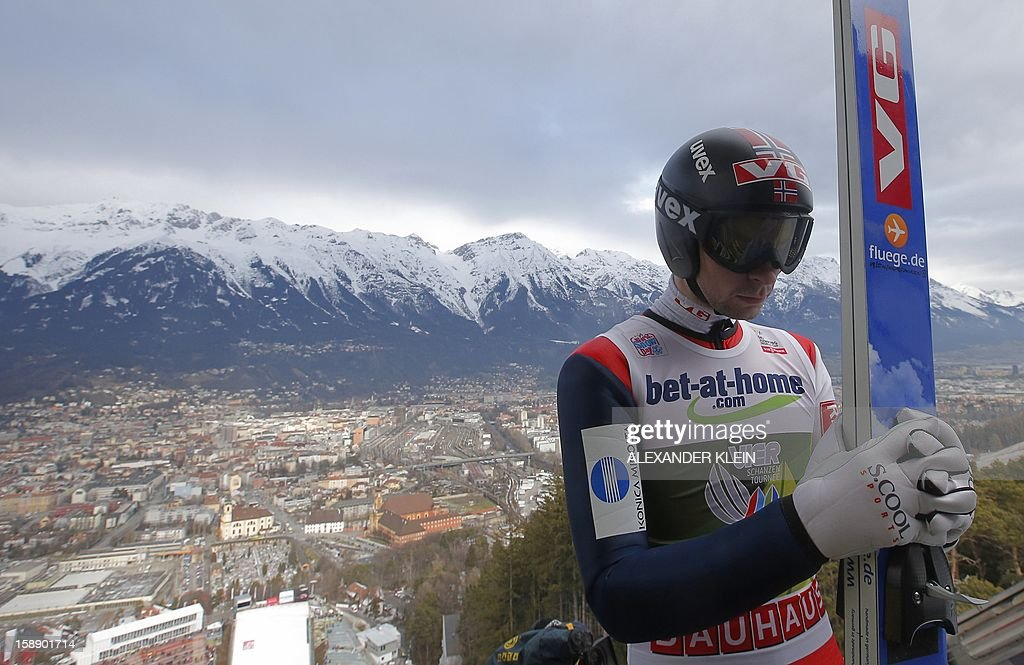 Norway's Anders Jacobsen concentrates before his jump during a training session, as part of the 61st edition of the FIS Four-Hills-Tournament (Vierschanzentournee) held in Innsbruck on January 3, 2013.