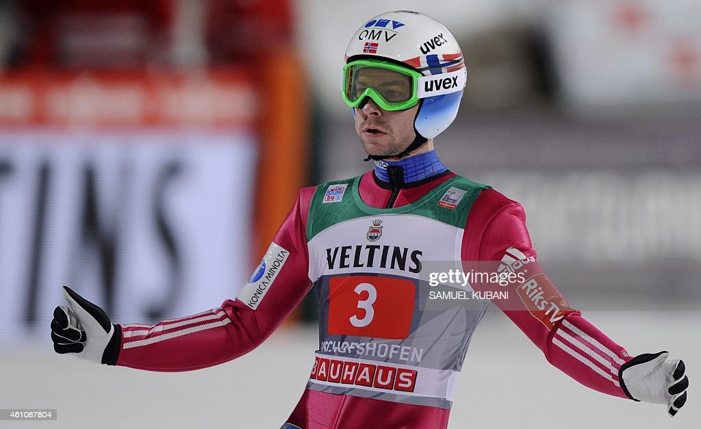 Norway's <a gi-track='captionPersonalityLinkClicked' href=/galleries/search?phrase=Anders+Jacobsen+-+Ski+Jumper&family=editorial&specificpeople=12186216 ng-click='$event.stopPropagation()'>Anders Jacobsen</a> reacts after competing in the final stage of the 63rd Four Hills Tournament (Vierschanzentournee) ski jumping event in Bischofshofen, Austria, on January 6, 2015. Austria's Stefan Kraft won the Four Hills tournament ahead of his teammate Michael Hayboeck and the third placed Slovenia's Peter Prevc.
