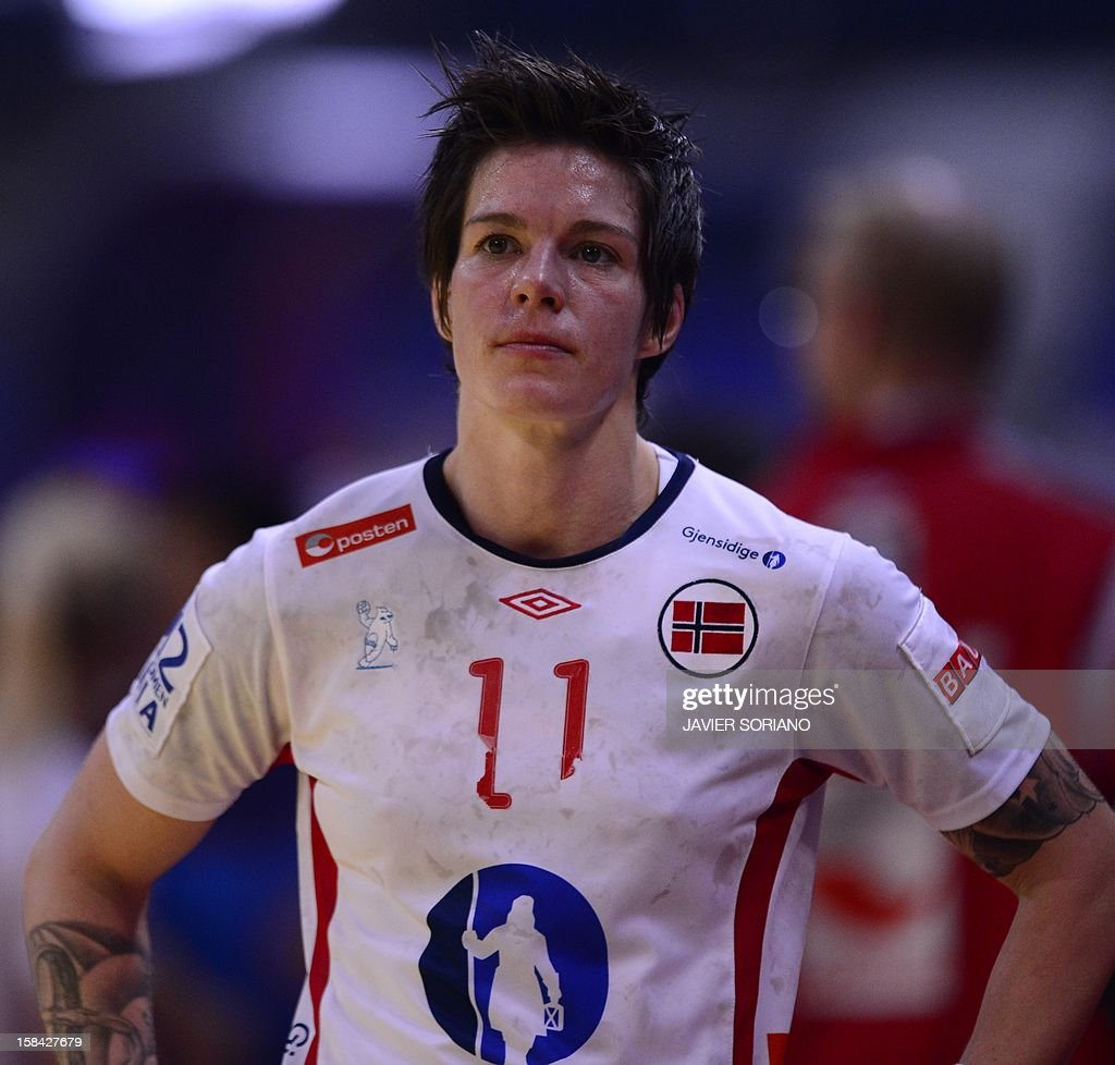 Norway's Anja Edin reacts at the end of the 2012 EHF European Women's Handball Championship final match Norway vs Montenegro on December 16 , 2012, at the Kombank Arena of Belgrade.