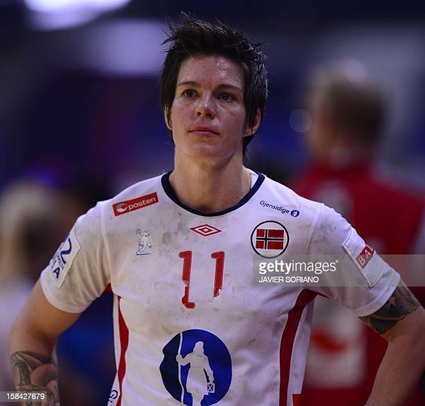 Norway's Anja Edin reacts at the end of the 2012 EHF European Women's Handball Championship final match Norway vs Montenegro on December 16 at the...