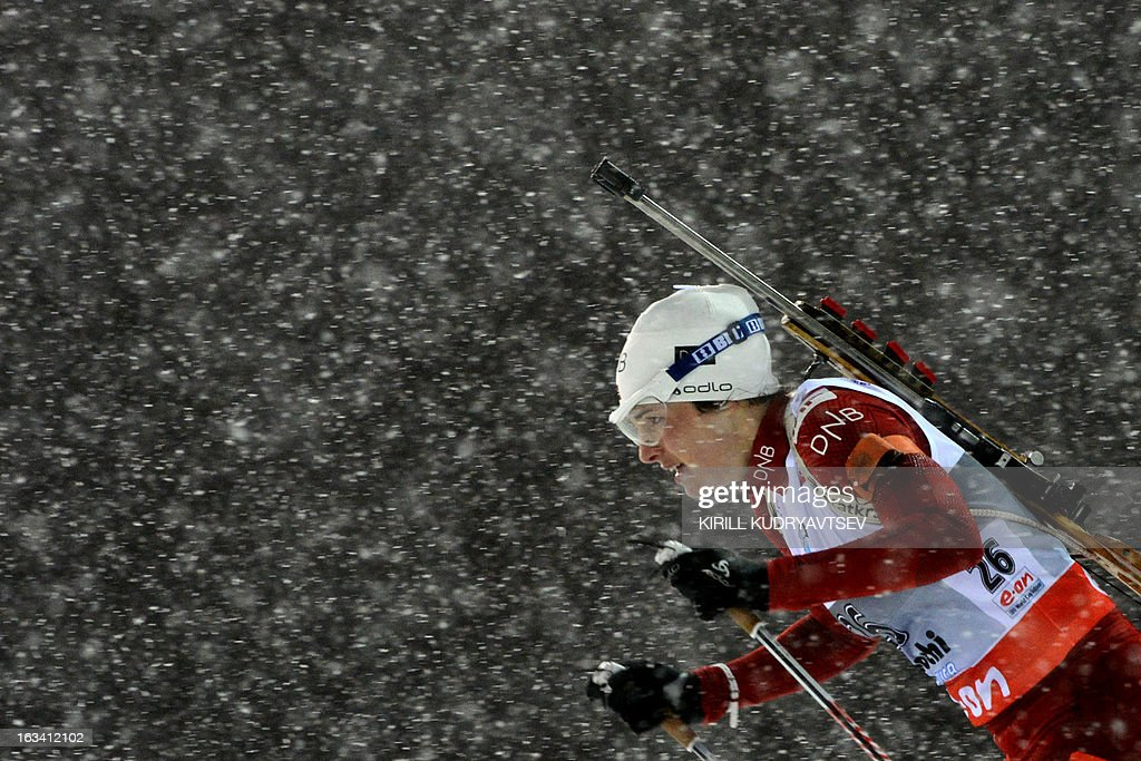 Norway's Ann Kristin Aafeldt Flatland competes in the Women 7.5 km Sprint during IBU World Cup Biathlon at Laura Cross Country and Biathlon Centre in Sochi on March 9, 2013. Poland's Magdalena Gwizdon took the first place ahead of Slovakia's Anastasiya Kuzmina and Norway's Tora Berger.