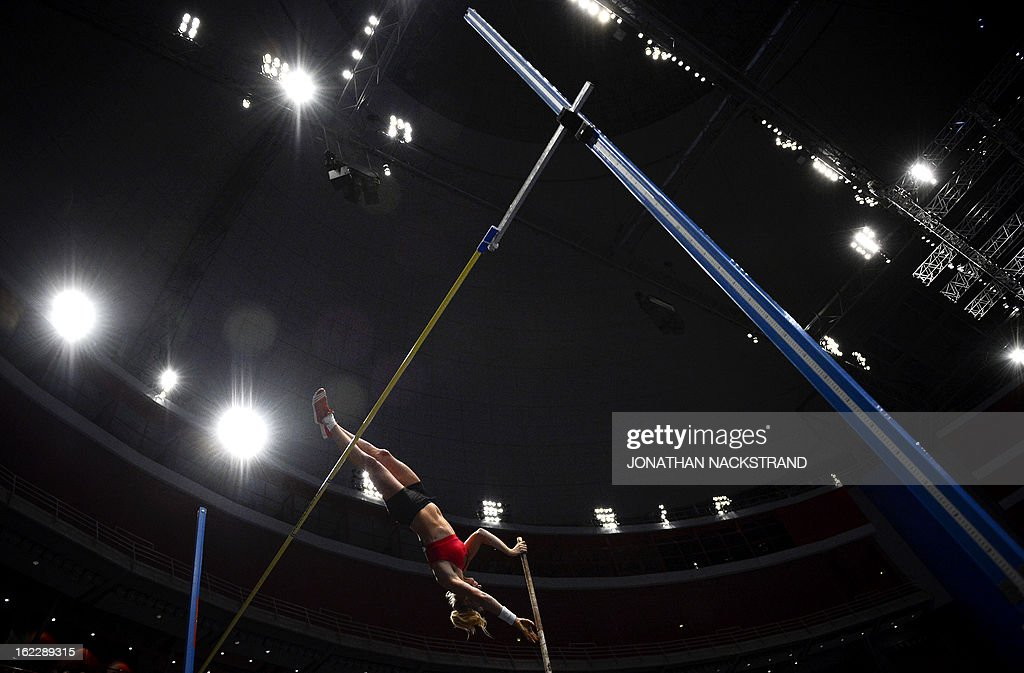 Norway's Cathrine Larsasen competes during the women's pole vault event of the XL Galan Stockholm Athletics Indoor meeting on February 21, 2013 at the Ericsson Globe Arena in Stockholm.