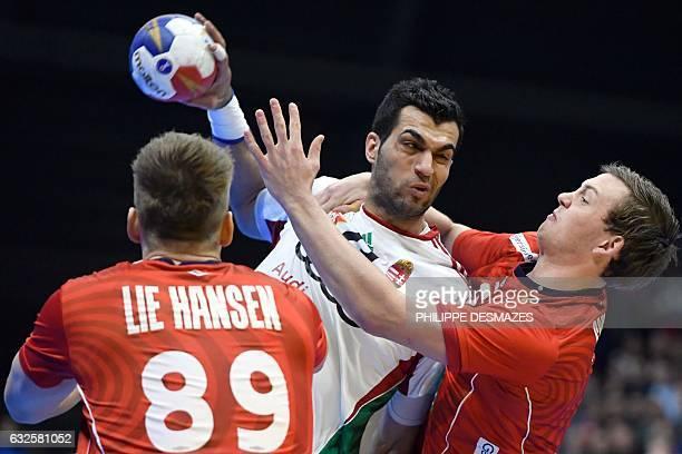 Norway's centre back Sander Sagosen defends against Hungary's left back Iman Jamali during the 25th IHF Men's World Championship 2017 quarter final...