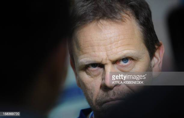 Norway's coach Thorir Hergeirsson listens to a journalist's questions on the media day of the 2012 EHF European Women's Handball Championship on...