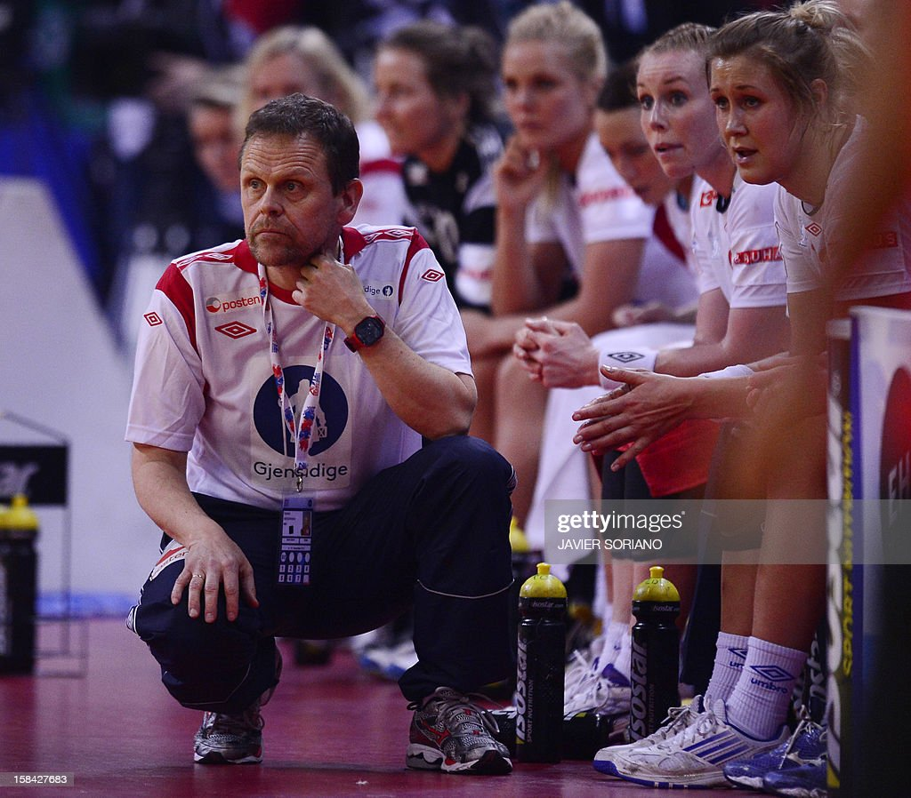 Norway's coach Thorir Hergeirsson reacts at the end of the 2012 EHF European Women's Handball Championship final match Norway vs Montenegro on December 16 , 2012, at the Kombank Arena of Belgrade.