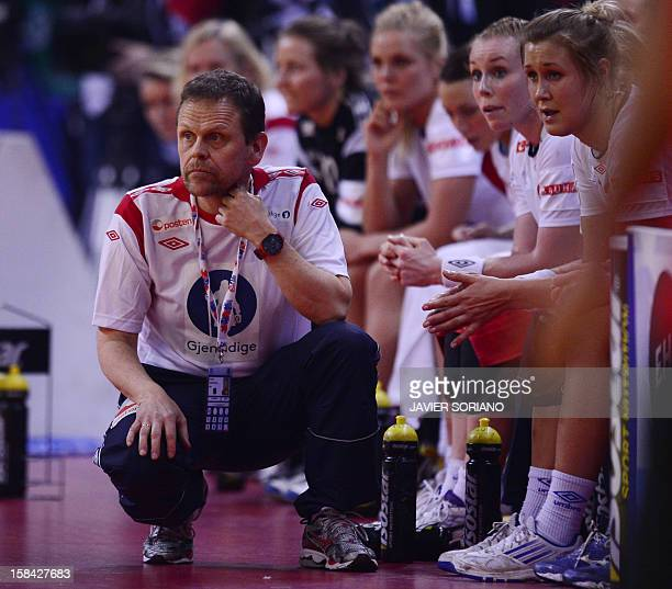 Norway's coach Thorir Hergeirsson reacts at the end of the 2012 EHF European Women's Handball Championship final match Norway vs Montenegro on...