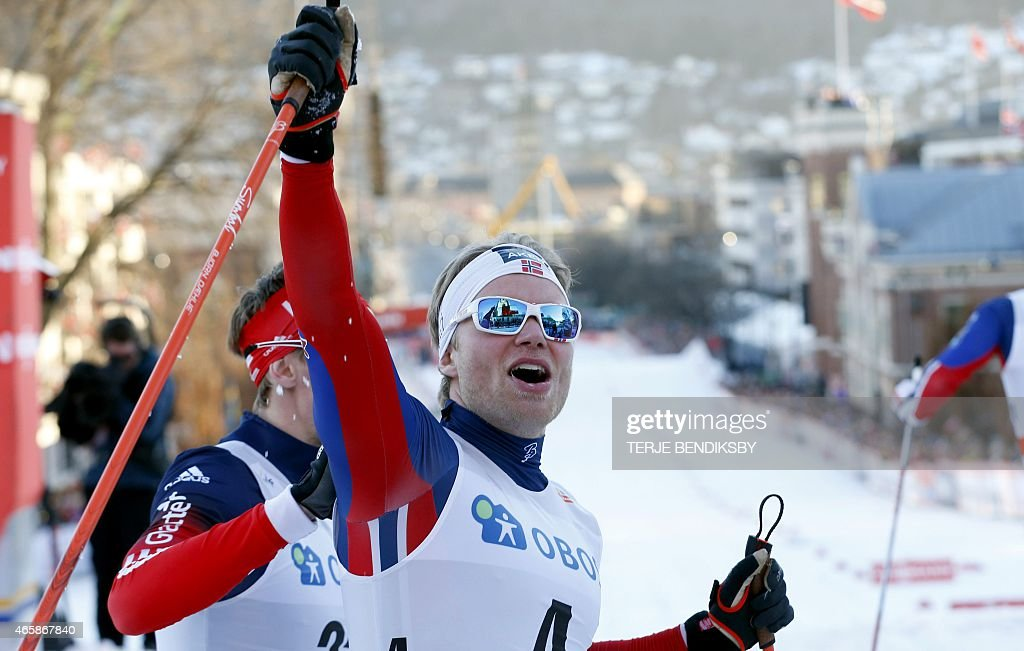Norway's <a gi-track='captionPersonalityLinkClicked' href=/galleries/search?phrase=Eirik+Brandsdal&family=editorial&specificpeople=6567373 ng-click='$event.stopPropagation()'>Eirik Brandsdal</a> reacts after crossing the finish line to win the men's 1,3 km Sprint Classic race of the FIS Cross Country World Cup in Drammen, Norway, on March 11, 2015. AFP PHOTO / NTB scanpix / TERJE